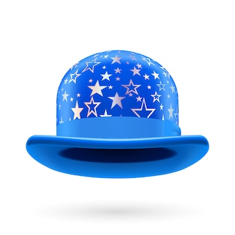 Blue starred bowler hat