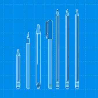 Contorno di cancelleria blu, set di illustrazioni vettoriali
