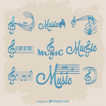 Blue staves and music notes logos