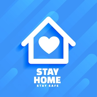 Blue stay home and safe background design