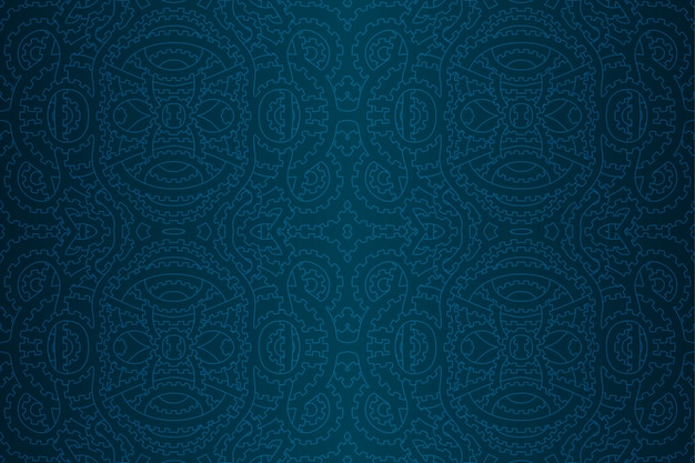 Blue steam punk seamless pattern with gears