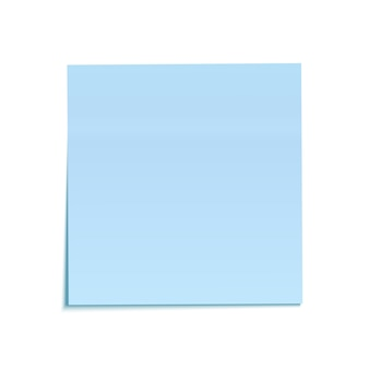 Blue sticky note isolated on white background.