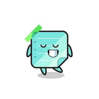 수줍은 표정이 있는 파란색 스티커 메모 만화 그림, 티셔츠, 스티커, 로고 요소를 위한 귀여운 스타일 디자인