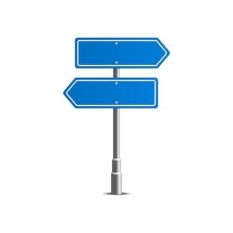 Синие уличные дорожные знаки. доска объявлений.
