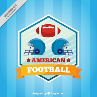 Blue striped background with american football helmets and ball
