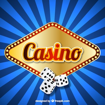 Blue striped background with luminous sign of casino and dice
