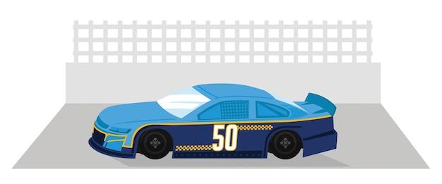 A blue stripped racing car