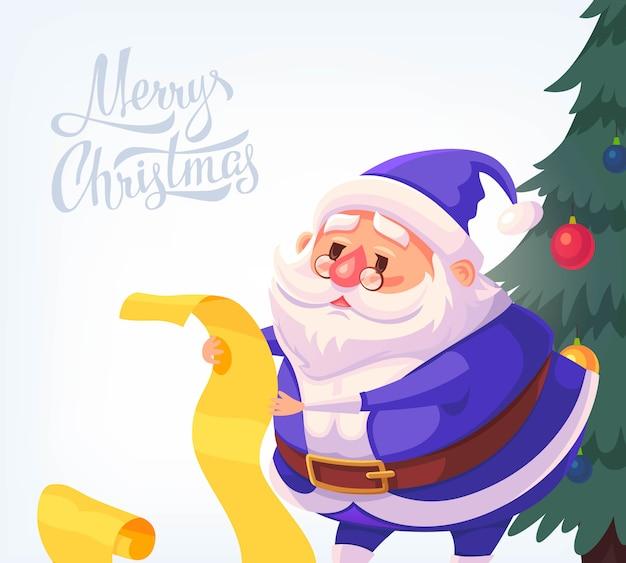 Синий костюм санта-клауса с рождеством иллюстрации шаржа