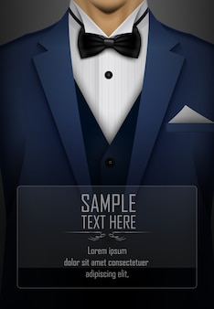 Blue suit and tuxedo with black bow tie