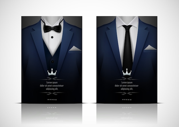 Blue suit and tuxedo with bow tie