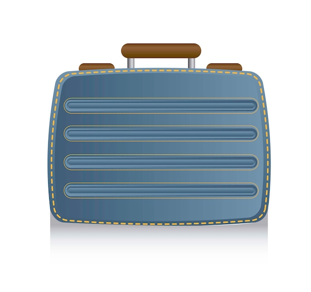Blue suitcase business over white background vector illustration
