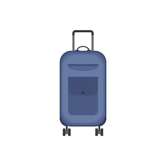 Значок синий чемодан. туристическое снаряжение. сумка путешествия, изолированные на белом фоне.