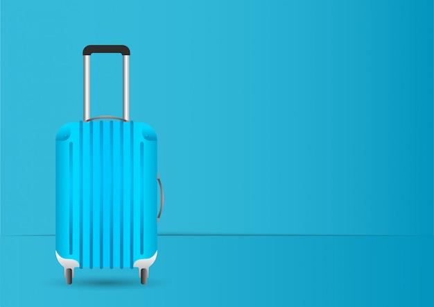 Blue suitcase/luggage on pastel blue background