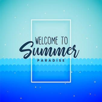 Blue summer paradise background poster