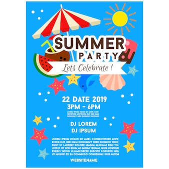 Blue summer party poster template illustration