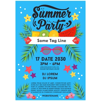 Blue summer party poster template promotion