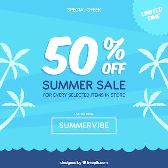 Blue summer sale background
