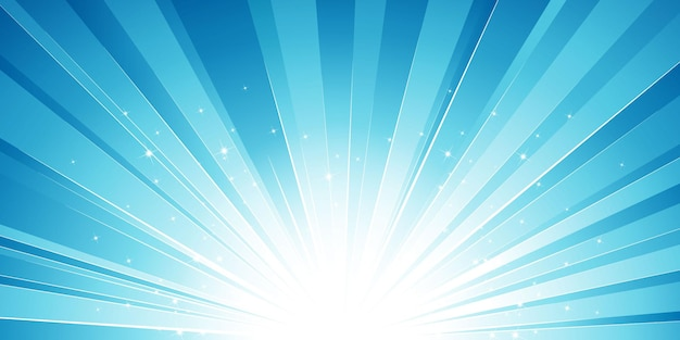 Blue sun burst with light effect and stars background