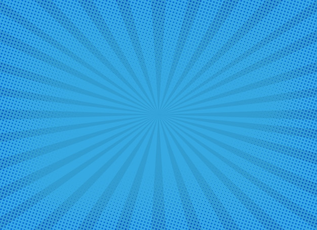 Blue sunburst background with halftone effect