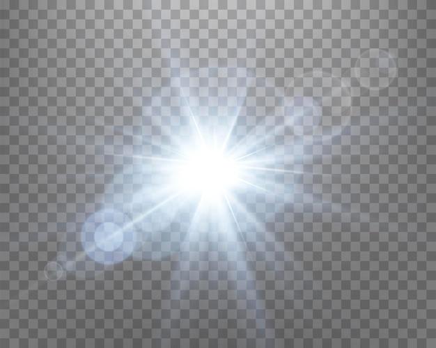 푸른 햇빛 렌즈 플레어, 광선과 스포트라이트가 있는 태양 플래시. 투명한 배경에서 빛나는 버스트 폭발. 벡터 일러스트 레이 션.