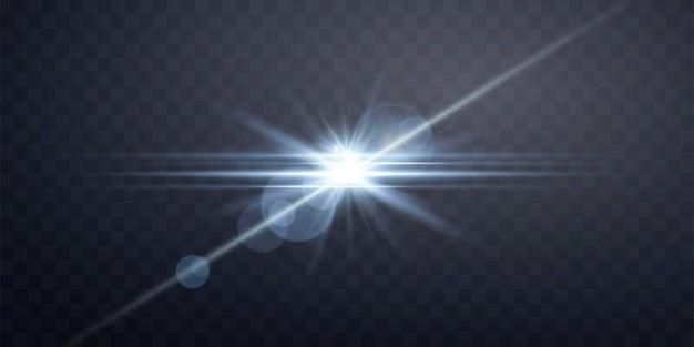 青い太陽光レンズフレア、光線とスポットライトによる太陽のフラッシュ。透明な背景に輝くバースト爆発。ベクトルイラスト。