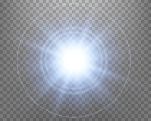 Blue sunlight lens flare, sun flash with rays and spotlight. glowing burst explosion on a transparent background.   vector illustration.