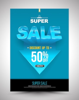 Blue super sale poster discount up to 50 percent with arrow