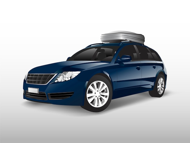 Blue suv with a roof storage box