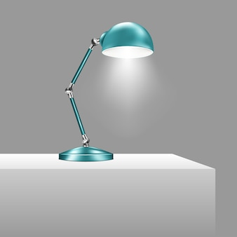 ライトが点灯している青いテーブルランプ。調節可能なアルミニウム製電気スタンド。ベクトルイラスト