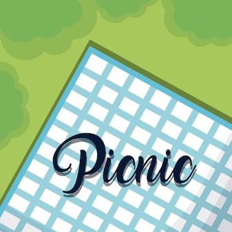 ピクニック用のブルーテーブルクロス
