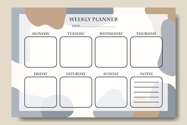 Синий серо-коричневый пастельный абстрактный шаблон еженедельного планировщика для печати