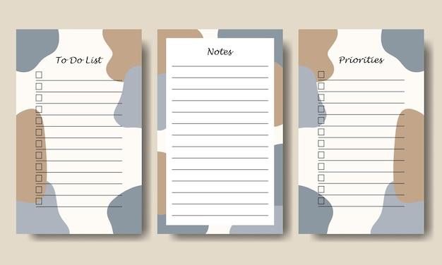 Синий серо-коричневый пастельный цвет абстрактные формы заметки, чтобы сделать шаблон списка для печати