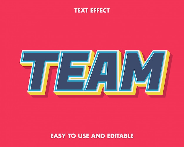 Blue team text effect easy to use and editable.