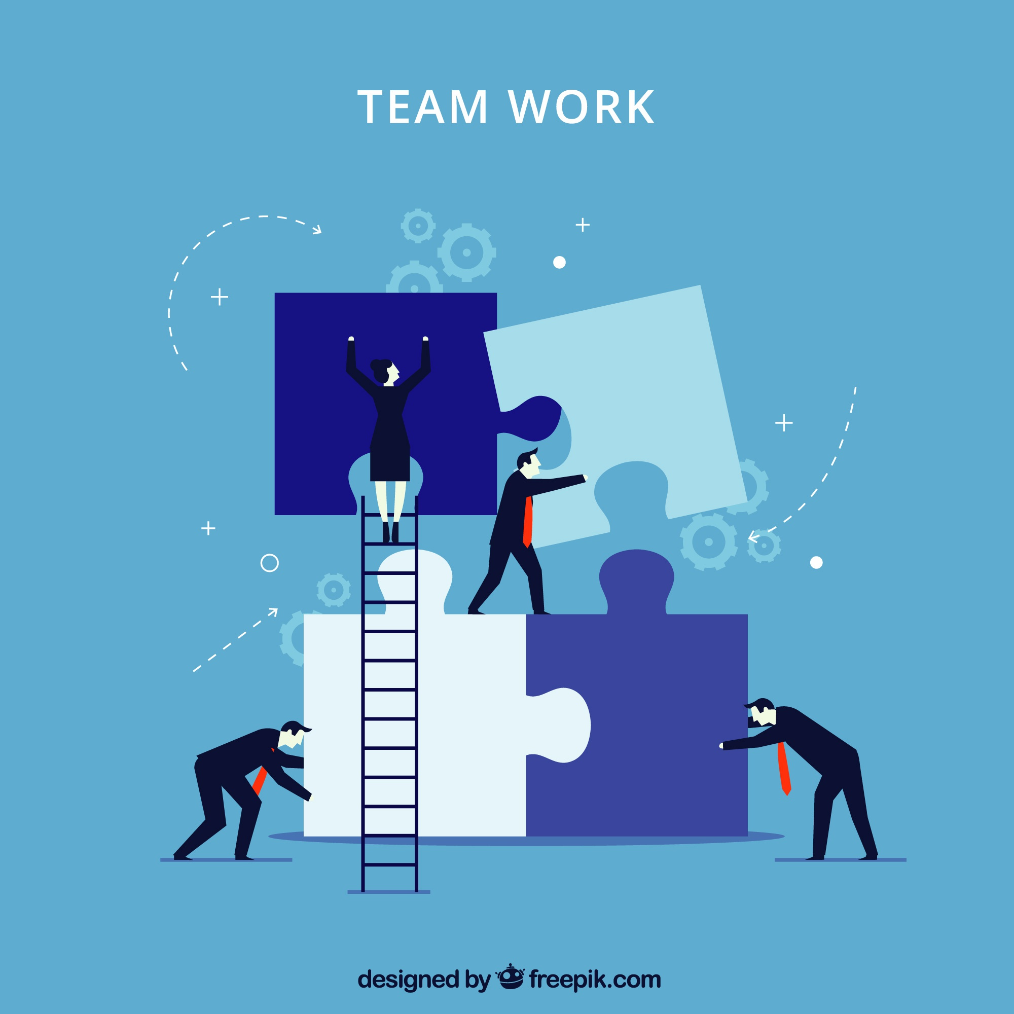 Blue teamwork concept with jigsaw pieces
