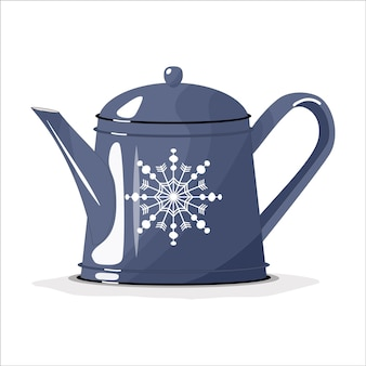Blue teapot, coffee pot on a white isolated background. merry christmas. dishes for the kitchen.