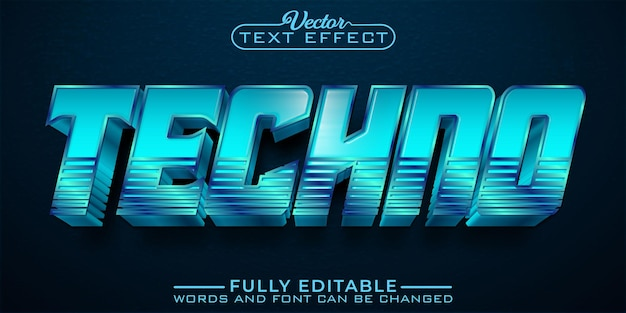 Blue techno gaming editable text effect template