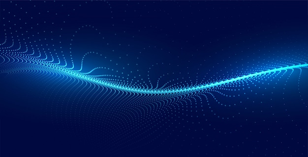 Blue techno particle wave light background