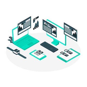 Blue technological devices isometric style
