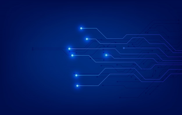 Blue technology background with circuit diagram