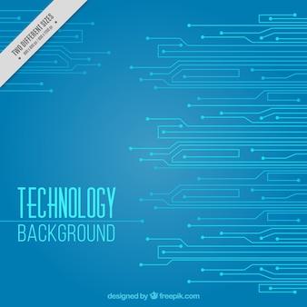 Sfondo blu di tecnologia con i circuiti
