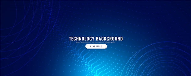 Blue technology banner with particles effect