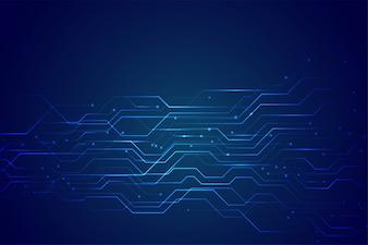 輝くラインライトと青い技術回路図