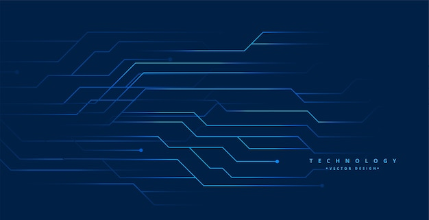 Blue technology circuit lines digital background design