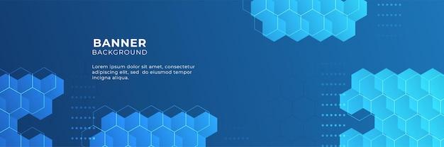 Синий технический дизайн цифрового баннера с шестиугольником