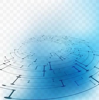 투명 배경에 파란색 기술 요소 무료 벡터