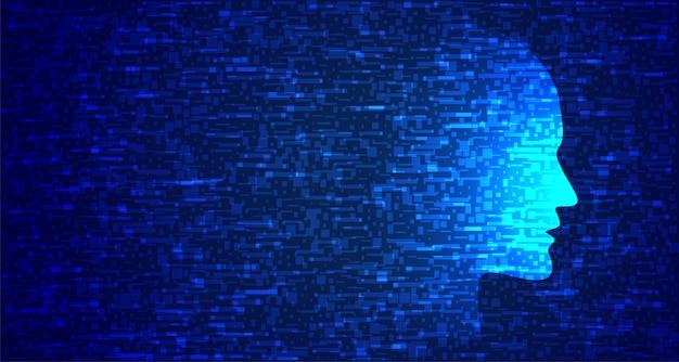 グリッチスタイルの青いテクノロジーの顔