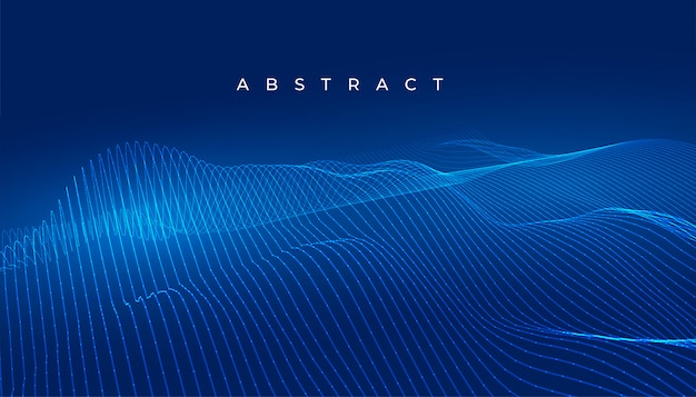 Blue technology wavy lines abstract digital background