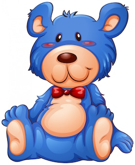 A blue teddy bear