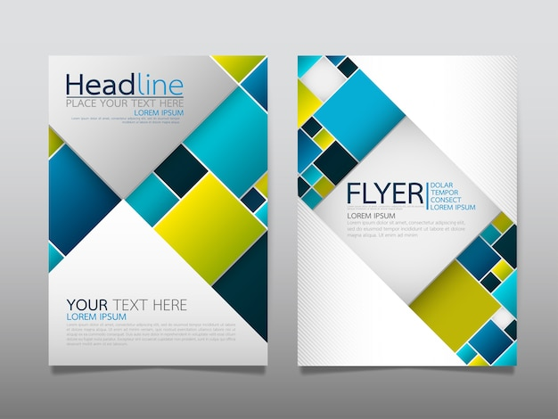 Blue template cover business brochure layout.