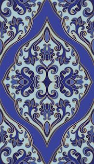 Синий шаблон для ковра, шали, текстиля. орнамент.